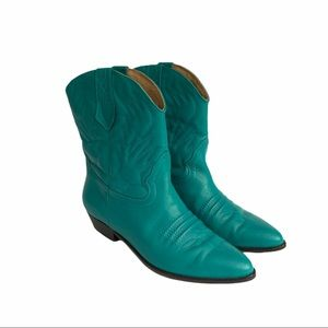 Vintage Nordstrom Turquoise Cowboy Boots Size 10